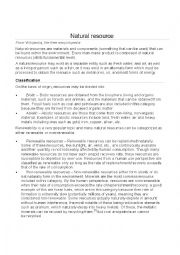English Worksheet: natural resources