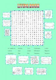 English Worksheet: LIVING ROOM WORDSEARCH