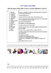 English Worksheet: TEST. CINEMA PEOPLE