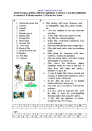 English Worksheet: TEST. TYPES OF FILMS