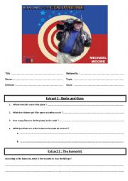 English Worksheet: Documentary Film - Bowling for Columbine by M. Moore