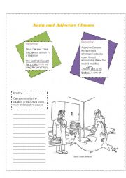 English Worksheet: Noun and Adjective Clauses Review