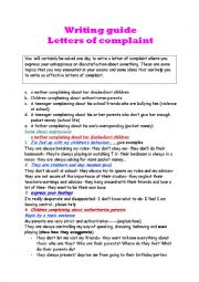 writing guide- letters of complaint