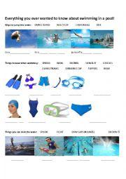 English Worksheet: swimming in a pool