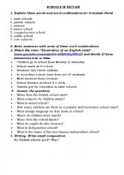 English Worksheet: Schools in Britain