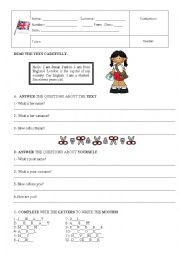English Worksheet: TEST 5th. Form