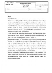 English Worksheet: english test for the 9th form basic education in tunisia