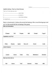 English Worksheet: Four Food Groups - Select the right items and grocery store activity