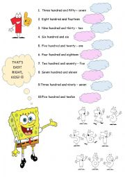 English Worksheet: 3 digit numbers/ three digit numbers/ big numbers