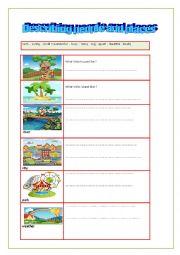 English Worksheet: Describing people and places