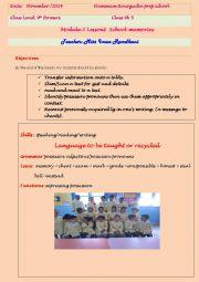 English Worksheet: lesson plan 9th formers (module 2/lesson 1 school memories