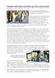 News article and exercises: penguin research robot