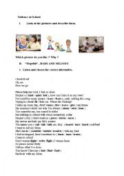 English Worksheet: Violence at school