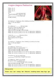 English Worksheet: Imagine  dragons: Radioactive .Song