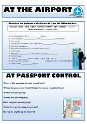 English Worksheet: Vocabulary for Airport Situations
