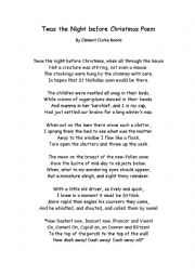English Worksheet: Twas night before Christmas poem