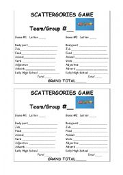 English Worksheet: Scattergories Game