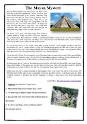 English Worksheet: The Mayan Mystery - Reading