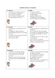 English Worksheet: Customer Service (pick up and delivery) Activity Cards