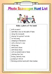 English Worksheet: Music Band Photo Scavenger Hunt