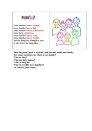 English Worksheet: FAMILY (a short poem for young learners)
