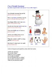 English Worksheet: SNOWMAN (an action song for kids)