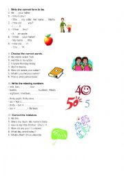 English Worksheet: to be, numbers, indefinite articles