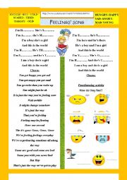 English Worksheet: a song about feelings and emotions