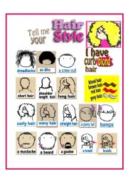 English Worksheet: Hair Styles ( I have...)