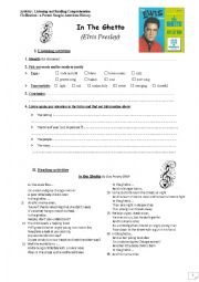 English Worksheet: In The Ghetto (Elvis Presley)