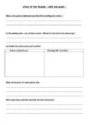 english worksheets study of the trailer of hope and glory. Black Bedroom Furniture Sets. Home Design Ideas