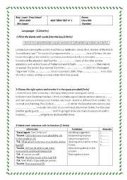 Mid Term Test n 1 8th form (Tunisian Schools)