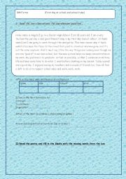 English Worksheet: Reading comprehension about school rules and first day at school