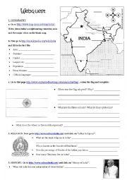 English Worksheet: Webquest India