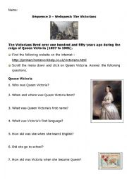 English Worksheet: Webquest on Victorian times