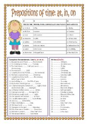 English worksheet: Prepositions of time:  in, on, at