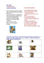 English Worksheet: MY PET  (a short poem + questions + matching activity)