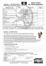 English Worksheet: Romeo And Juliet - the quotations + Shakespeare