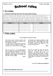 English Worksheet: School rules module two section two 9 th grade tunisian school