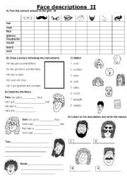 English Worksheet: Face Description