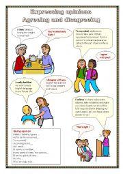 English Worksheet: Expressing opinions. Agreeing, disagreeing.