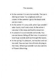 English Worksheet: Short weather and seasons reading