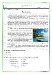 English Worksheet: Test (vocational courses module 6) Eco-tourism