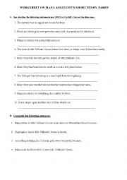 English Worksheet: Maya Angelou�s Names - a worksheet