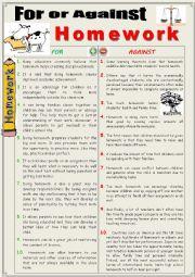 English Worksheet: For or against Homework (Debating)
