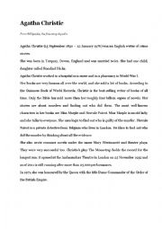 English Worksheet: Biography: Agatha Christie