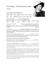English Worksheet: Elvis Presley - biography, exercises and songs