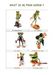 English Worksheet: What�s 3d Frog Doing ? 2