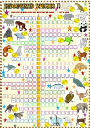 English Worksheet: Endangered animals: crossword puzzle