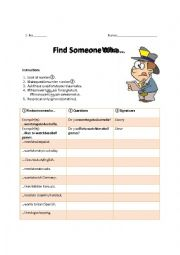 English Worksheet: Find Someone Who...